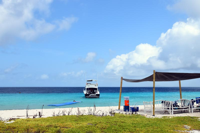 view from beach Klein Curacao with sea view