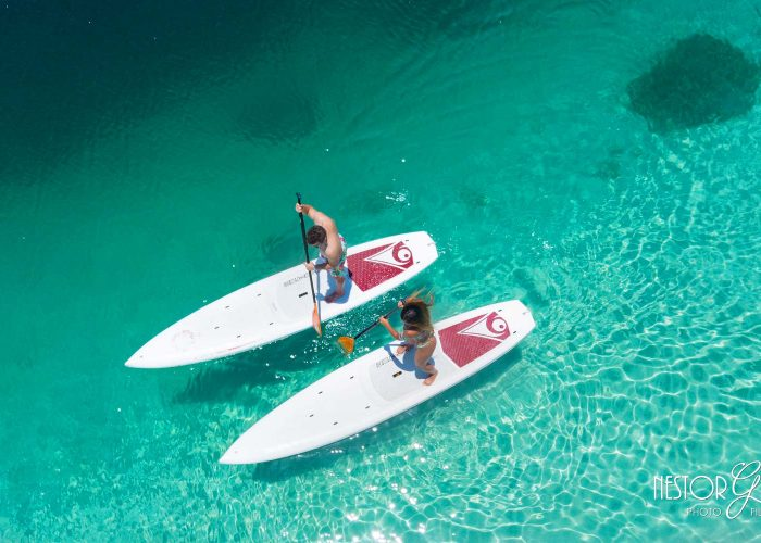 twee paddle boards in Fuikbaai Curacao